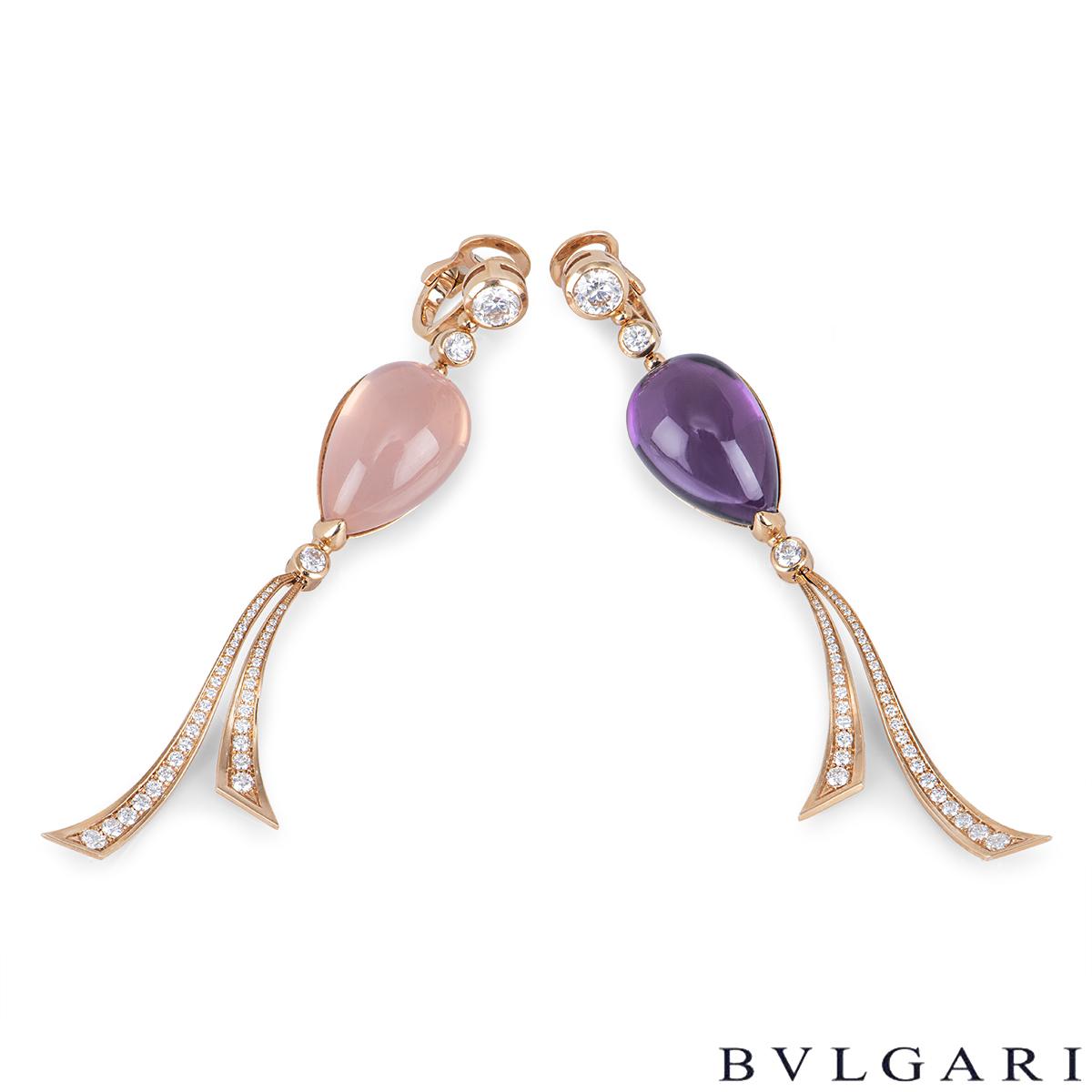 Bvlgari Rose Gold Diamond & Gemstone Festa Earrings
